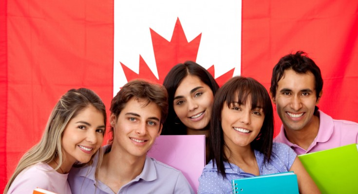 Group of English or French students with the flag of Canada